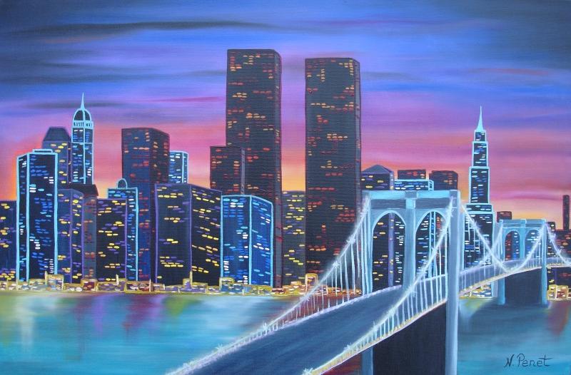 Manhattan le pont de brooklyn nathalie penet - Toile pont de brooklyn ...