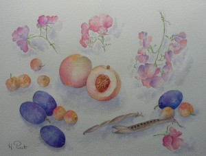fruits délicieux et pois de senteur